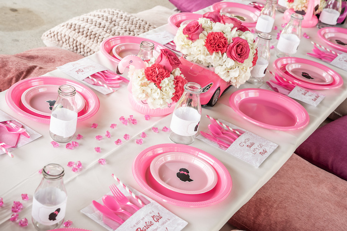 Barbie Themed Kid Table from an Afro Barbie Dream Pool Party on Kara's Party Ideas | KarasPartyIdeas.com (17)