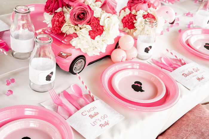 Barbie Themed Kid Table + Table Setting from an Afro Barbie Dream Pool Party on Kara's Party Ideas | KarasPartyIdeas.com (14)