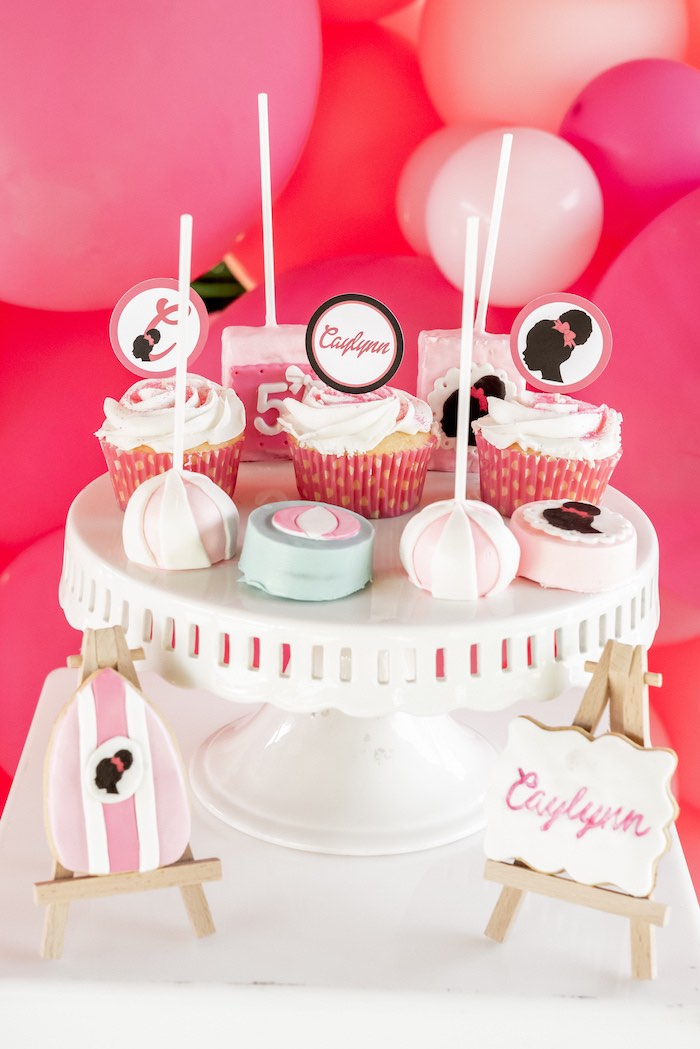 Barbie Themed Cookies + Cupcakes + Cake Pops from an Afro Barbie Dream Pool Party on Kara's Party Ideas | KarasPartyIdeas.com (13)