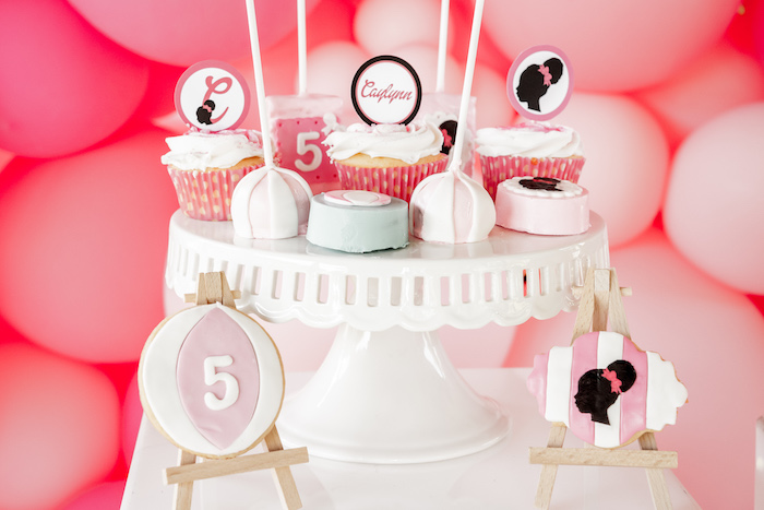 Barbie Themed Cookies + Cupcakes + Cake Pops from an Afro Barbie Dream Pool Party on Kara's Party Ideas | KarasPartyIdeas.com (10)