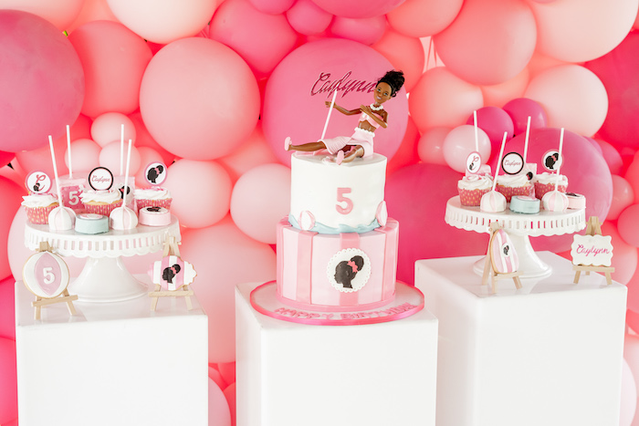 Barbie Themed Dessert Spread from an Afro Barbie Dream Pool Party on Kara's Party Ideas | KarasPartyIdeas.com (9)