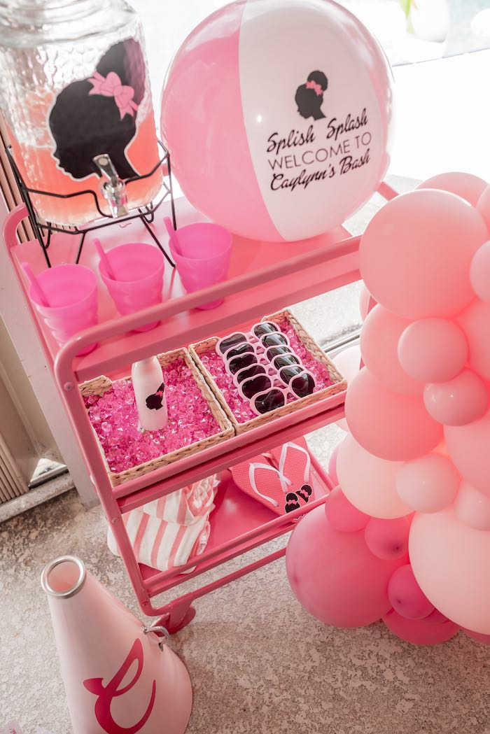 Splish Splash Barbie Beverage + Favor Cart from an Afro Barbie Dream Pool Party on Kara's Party Ideas | KarasPartyIdeas.com (32)