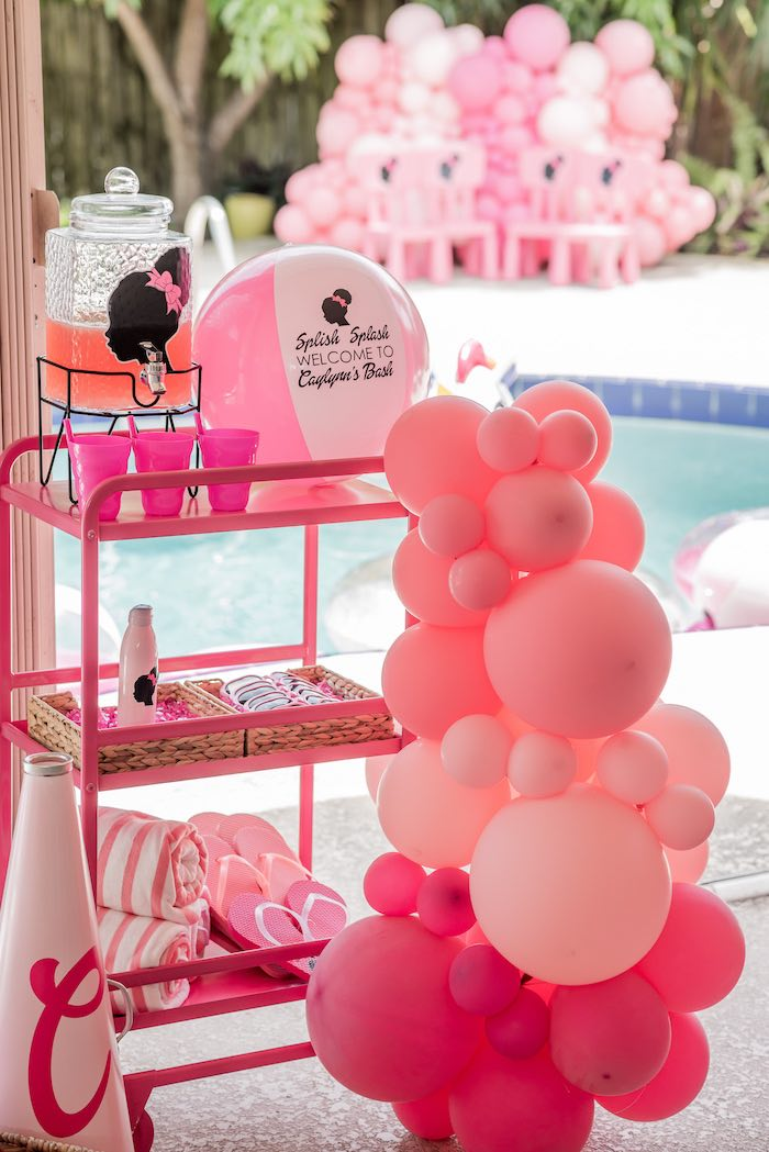 Splish Splash Barbie Beverage + Favor Cart from an Afro Barbie Dream Pool Party on Kara's Party Ideas | KarasPartyIdeas.com (31)