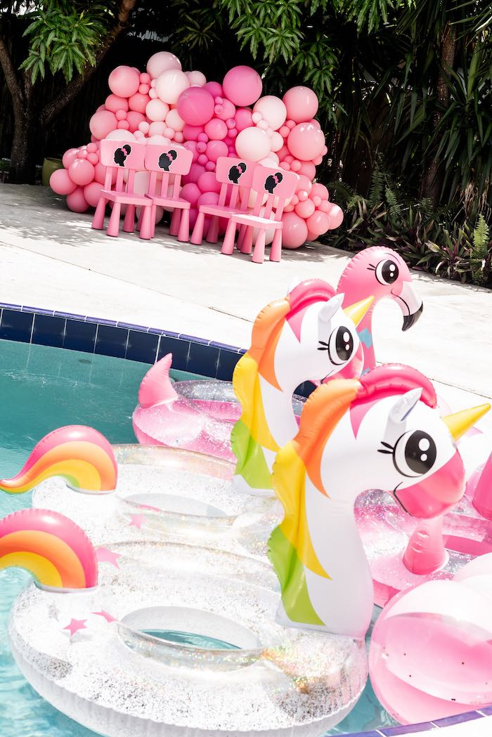 Pool Floaties from an Afro Barbie Dream Pool Party on Kara's Party Ideas | KarasPartyIdeas.com (30)