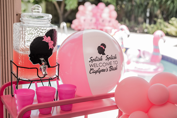 Splish Splash Barbie Beverage Cart from an Afro Barbie Dream Pool Party on Kara's Party Ideas | KarasPartyIdeas.com (29)