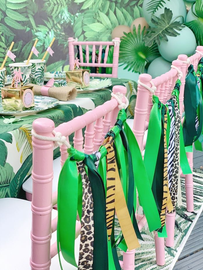 Jungle Tassel Chair Garland from a Beverly Hills Jungle Birthday Party on Kara's Party Ideas | KarasPartyIdeas.com (11)