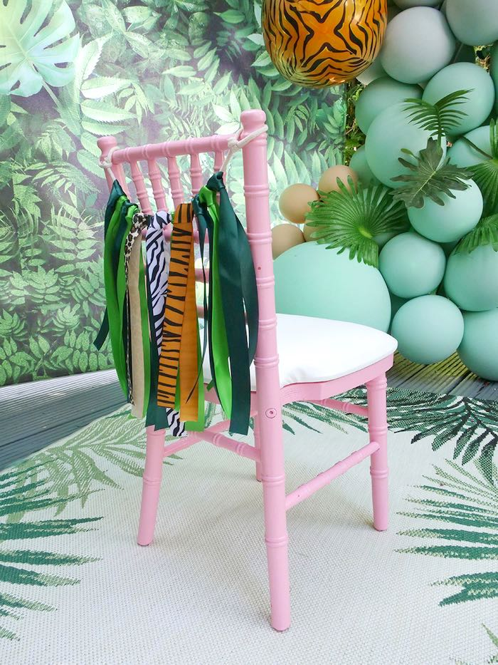 Pink Chiavari Chair with Jungle Tassel Garland from a Beverly Hills Jungle Birthday Party on Kara's Party Ideas | KarasPartyIdeas.com (10)