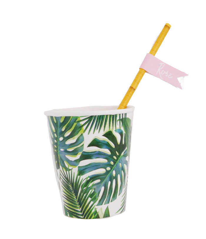 Tropical Leaf Cup from a Beverly Hills Jungle Birthday Party on Kara's Party Ideas | KarasPartyIdeas.com (4)