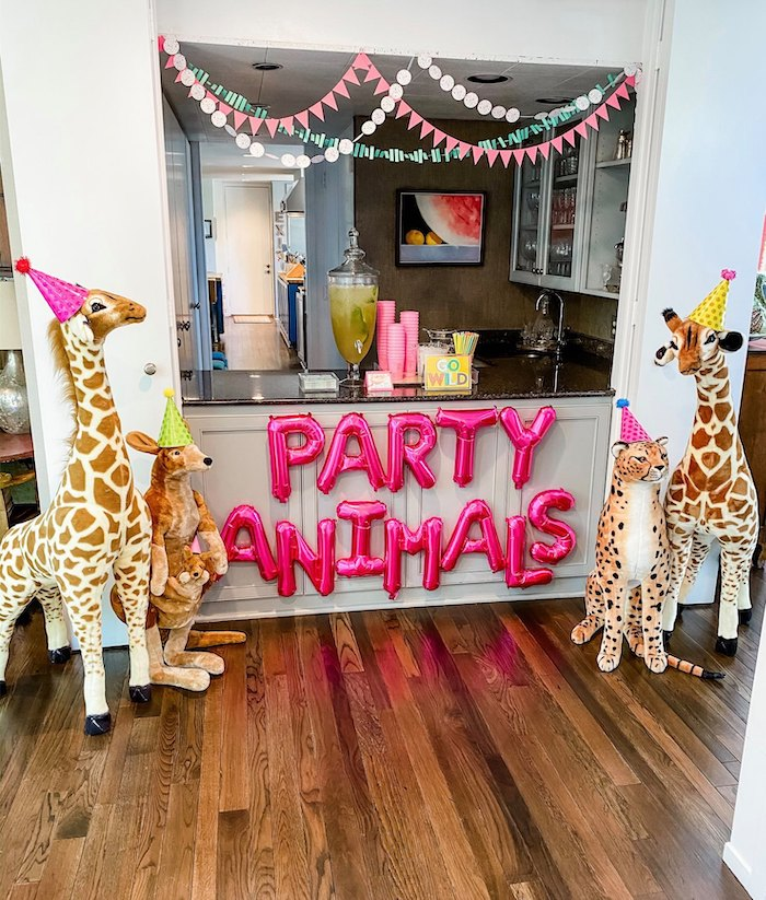 Party Animals Beverage Bar from a Calling All Party Animals First Birthday Party on Kara's Party Ideas | KarasPartyIdeas.com (26)