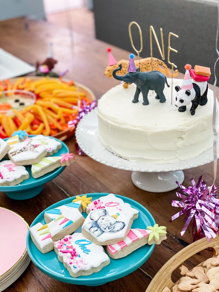 Wild Animal Cake Table from a Calling All Party Animals First Birthday Party on Kara's Party Ideas | KarasPartyIdeas.com (25)
