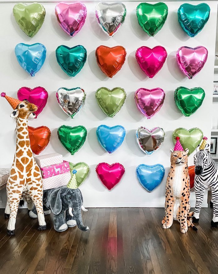 Wild Animal + Heart Balloon Wall Backdrop from a Calling All Party Animals First Birthday Party on Kara's Party Ideas | KarasPartyIdeas.com (19)