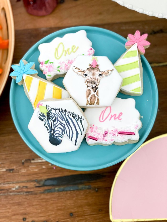 Wild Animal Cookies from a Calling All Party Animals First Birthday Party on Kara's Party Ideas | KarasPartyIdeas.com (14)