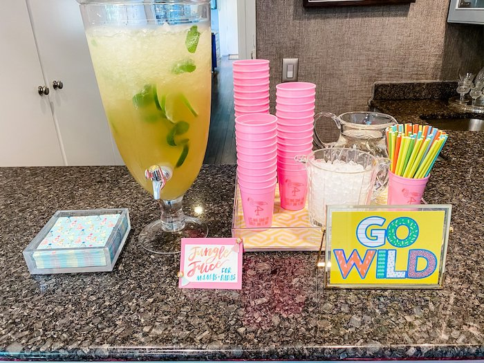 """""""Go Wild"""" Beverage Bar from a Calling All Party Animals First Birthday Party on Kara's Party Ideas 