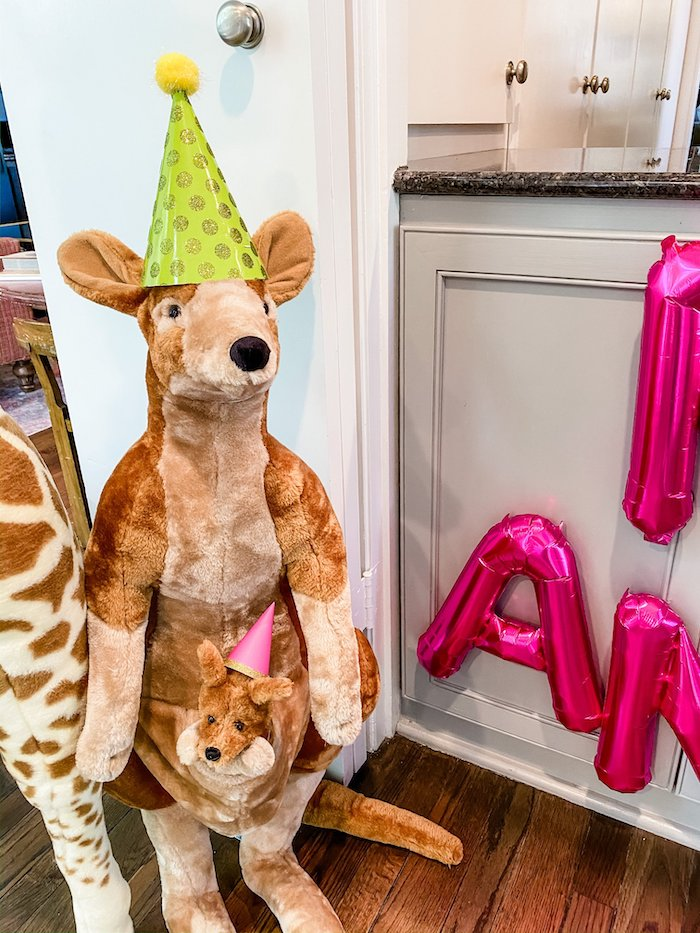 Giant Plush Kangaroo from a Calling All Party Animals First Birthday Party on Kara's Party Ideas | KarasPartyIdeas.com (11)
