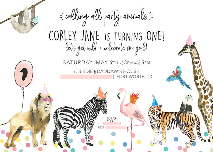 Wild Animal Party Invite from a Calling All Party Animals First Birthday Party on Kara's Party Ideas | KarasPartyIdeas.com (6)