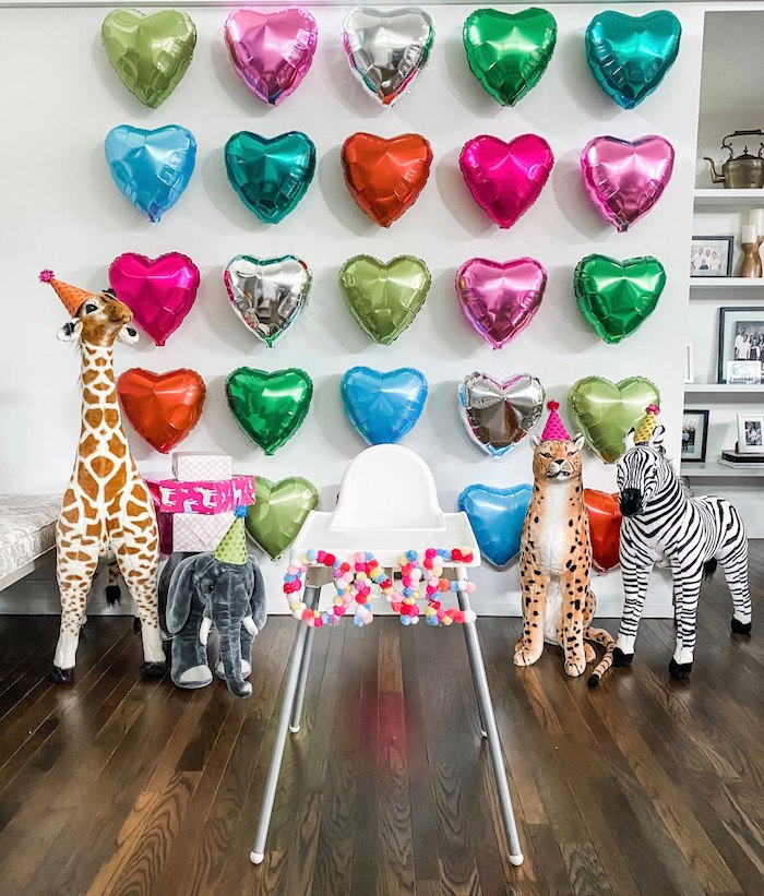 Wild Animal + Heart Balloon Wall Highchair Backdrop from a Calling All Party Animals First Birthday Party on Kara's Party Ideas | KarasPartyIdeas.com (28)