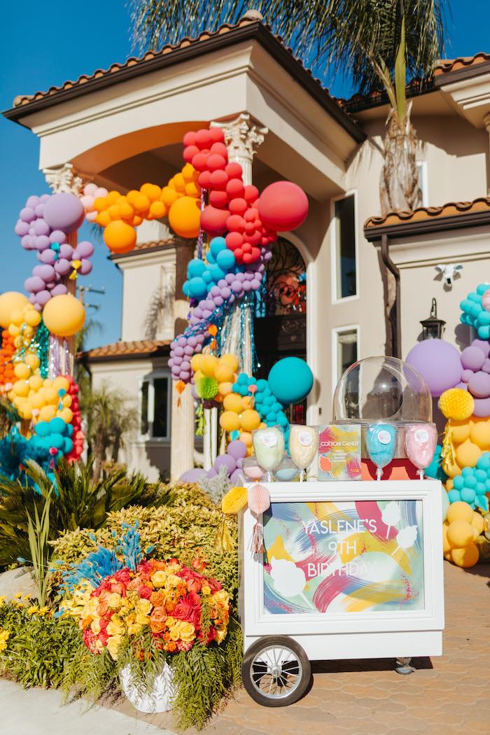 Cotton Candy Cart from a Colorful Drive-By Birthday Parade on Kara's Party Ideas | KarasPartyIdeas.com (24)
