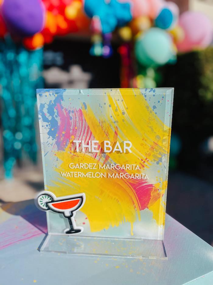 Acrylic Bar Menu from a Colorful Drive-By Birthday Parade on Kara's Party Ideas | KarasPartyIdeas.com (18)