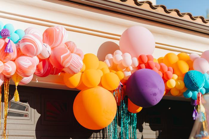 Balloon Install from a Colorful Drive-By Birthday Parade on Kara's Party Ideas | KarasPartyIdeas.com (14)