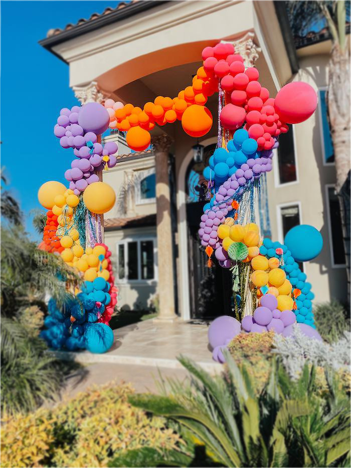 Rainbow Balloon Arch from a Colorful Drive-By Birthday Parade on Kara's Party Ideas | KarasPartyIdeas.com (9)