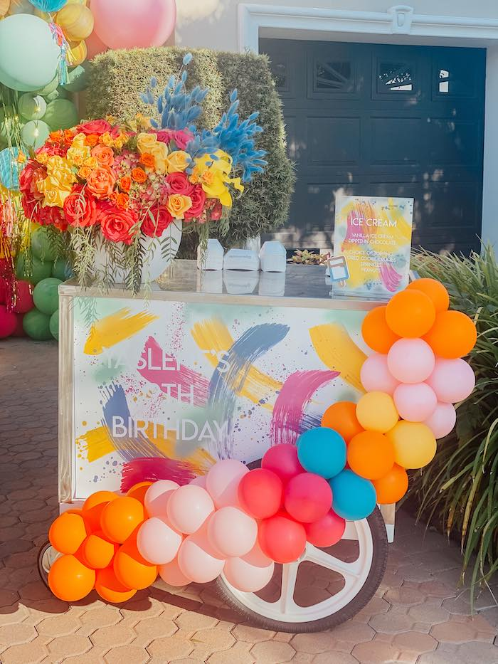 Personalized Ice Cream Cart from a Colorful Drive-By Birthday Parade on Kara's Party Ideas | KarasPartyIdeas.com (7)