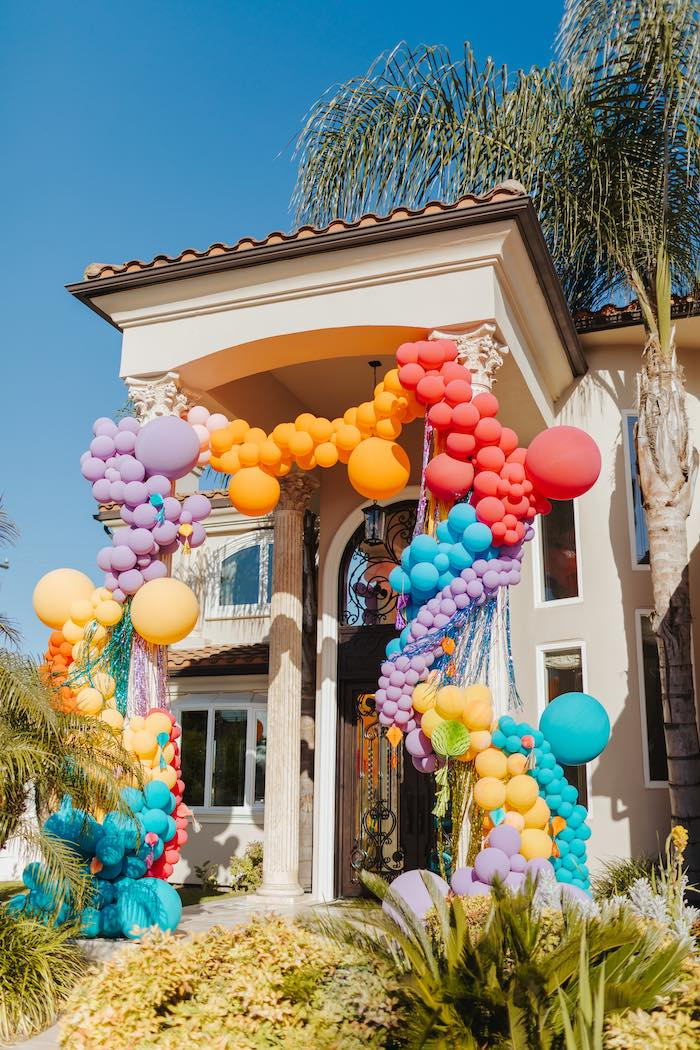 Rainbow Balloon Arch from a Colorful Drive-By Birthday Parade on Kara's Party Ideas | KarasPartyIdeas.com (29)