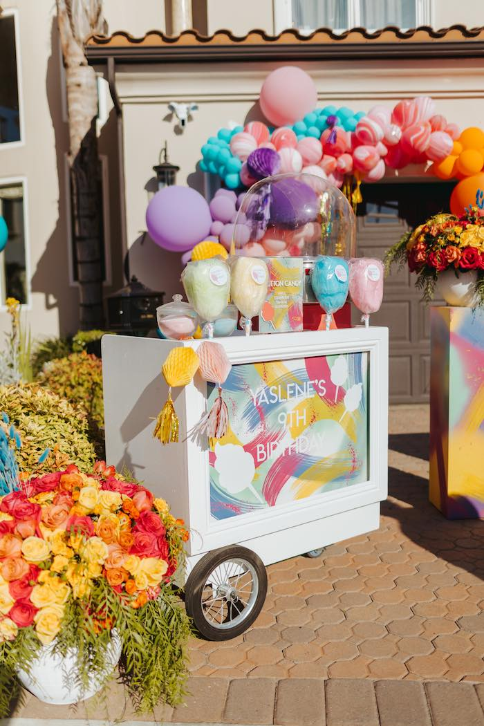 Cotton Candy Cart from a Colorful Drive-By Birthday Parade on Kara's Party Ideas | KarasPartyIdeas.com (28)