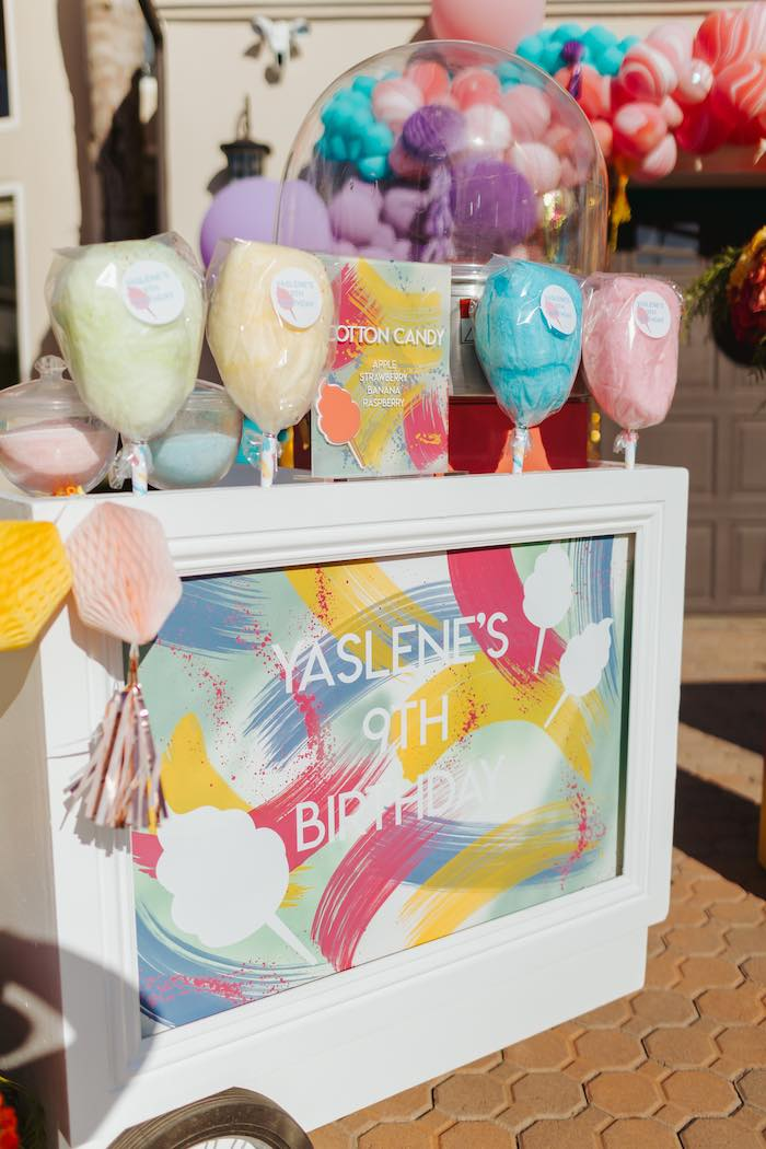 Cotton Candy Cart from a Colorful Drive-By Birthday Parade on Kara's Party Ideas | KarasPartyIdeas.com (27)