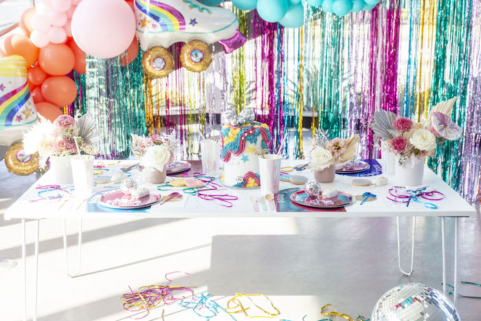 Disco Themed Kid Table from a Disco Vibes Party on Kara's Party Ideas | KarasPartyIdeas.com (18)