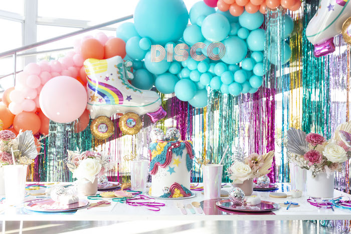 Disco Themed Kid Table from a Disco Vibes Party on Kara's Party Ideas | KarasPartyIdeas.com (16)