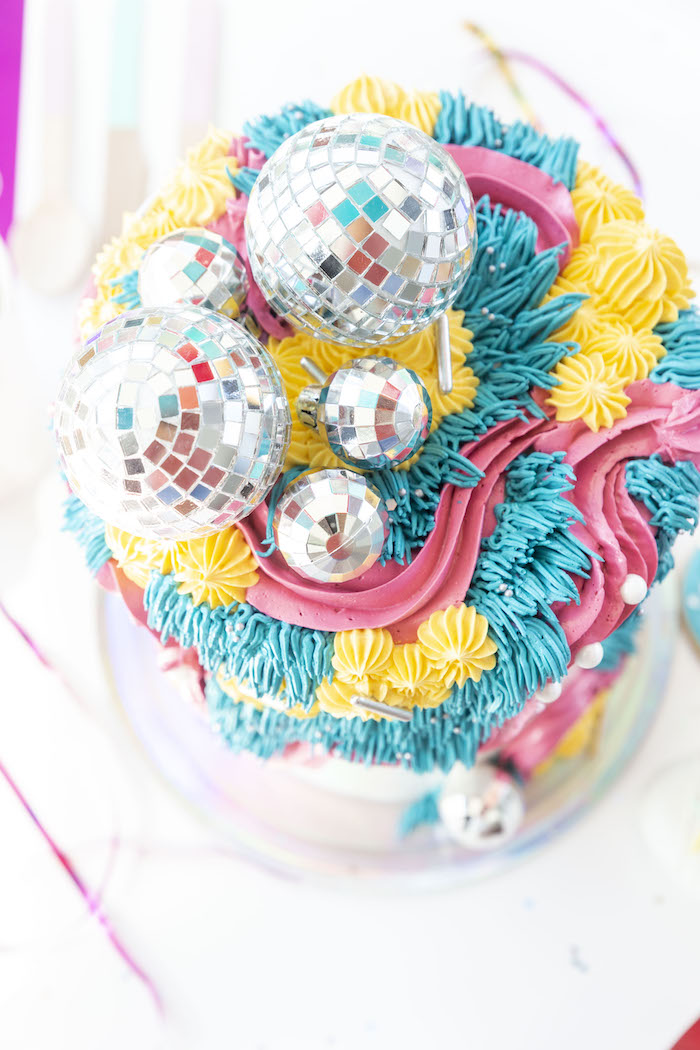 Disco-inspired Cake from a Disco Vibes Party on Kara's Party Ideas | KarasPartyIdeas.com (12)