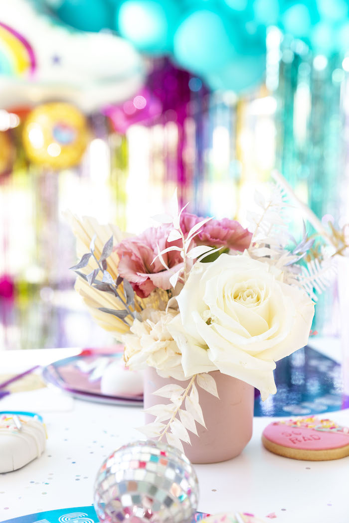 Floral Centerpiece from a Disco Vibes Party on Kara's Party Ideas | KarasPartyIdeas.com (25)