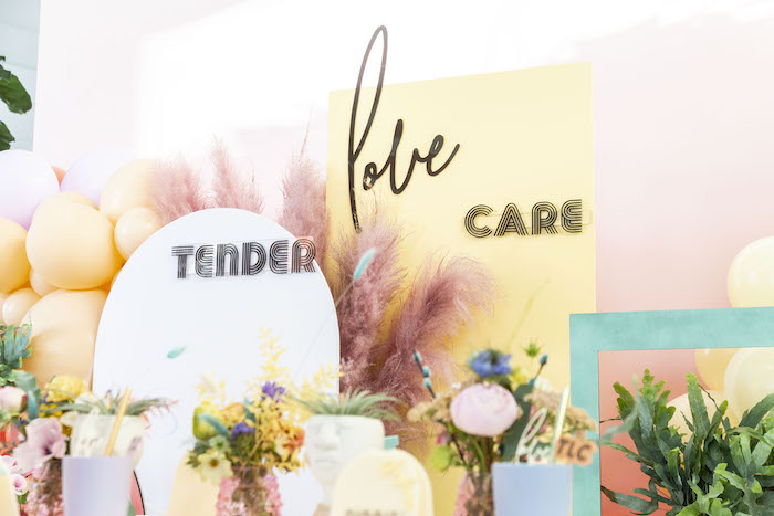 """Tender + Love + Care Backdrop from a Floral """"Quarantine TLC"""" Moms' Day Out Party on Kara's Party Ideas   KarasPartyIdeas.com (17)"""