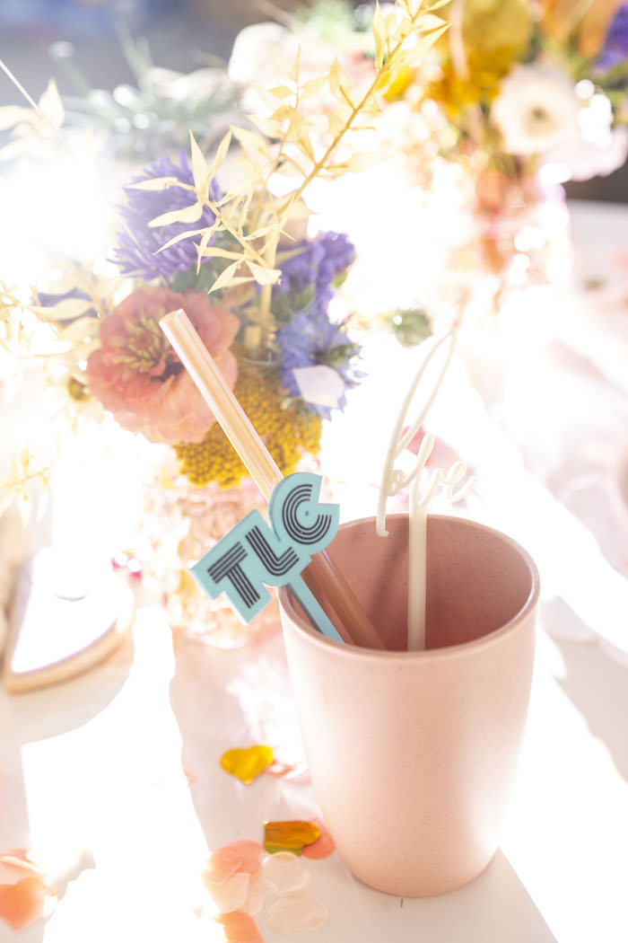 """Cup + TLC & Love Stir Sticks from a Floral """"Quarantine TLC"""" Moms' Day Out Party on Kara's Party Ideas   KarasPartyIdeas.com (29)"""