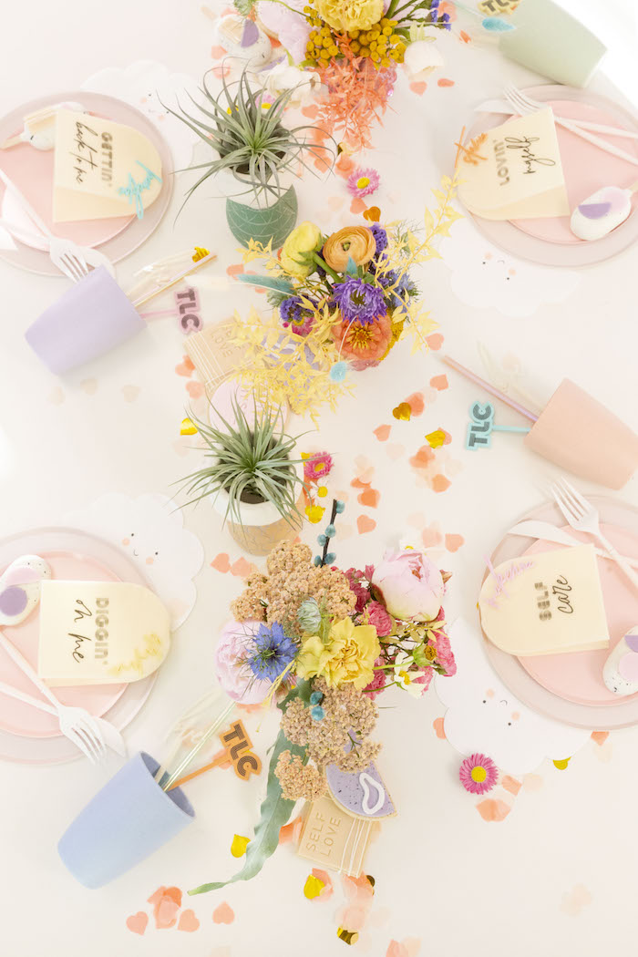 """Guest Tabletop from a Floral """"Quarantine TLC"""" Moms' Day Out Party on Kara's Party Ideas   KarasPartyIdeas.com (24)"""