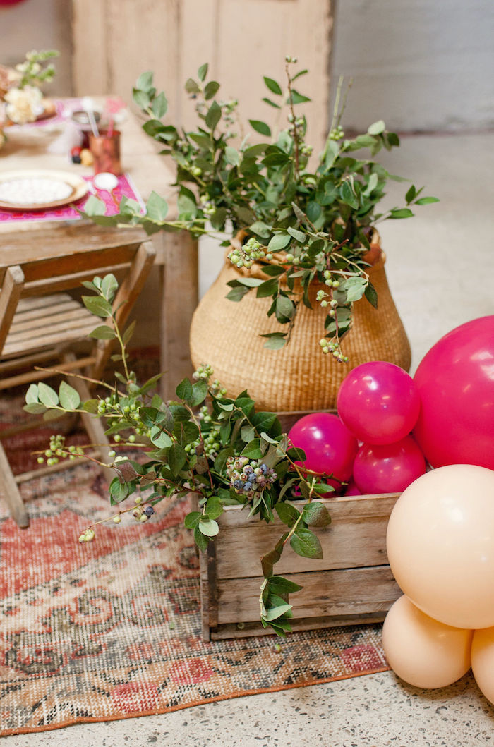 Greenery Baskets + Bins from a Floral Fall Harvest Party on Kara's Party Ideas | KarasPartyIdeas.com (14)