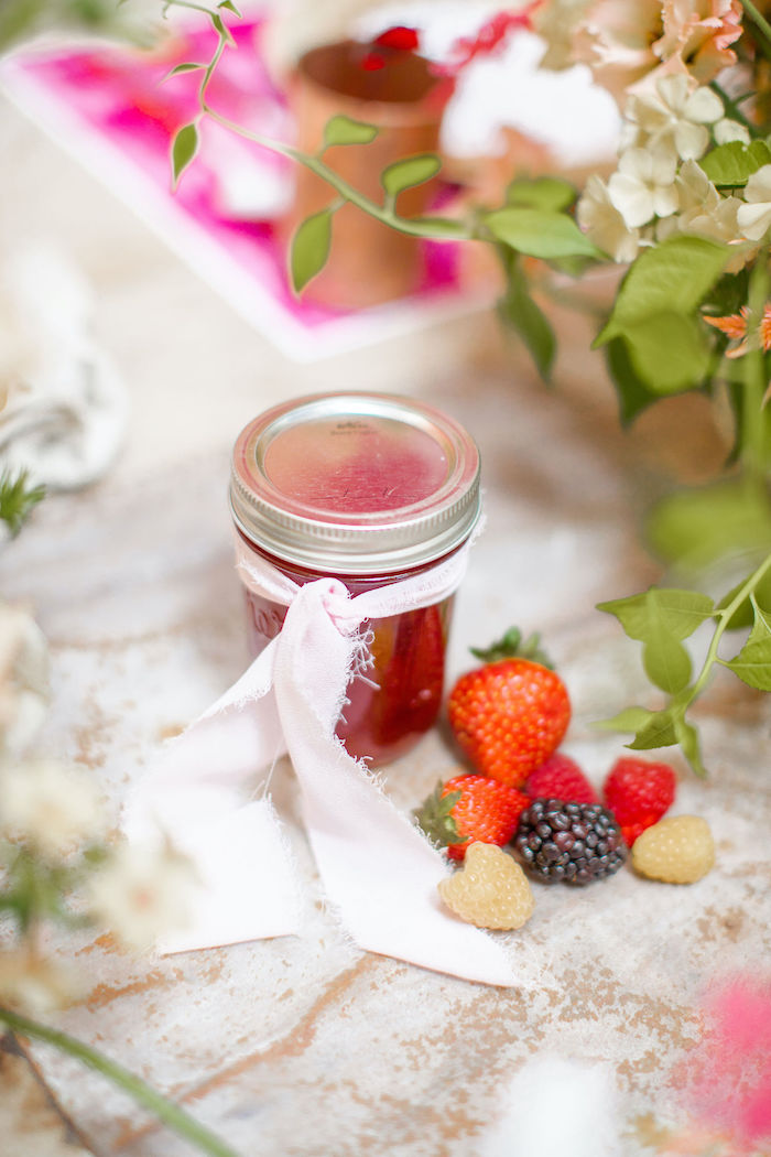 Jam Jar Favor from a Floral Fall Harvest Party on Kara's Party Ideas | KarasPartyIdeas.com (30)