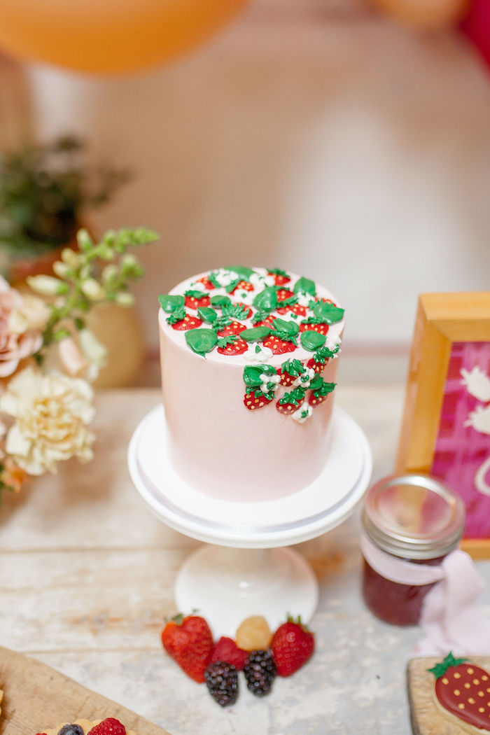 Strawberry Cake from a Floral Fall Harvest Party on Kara's Party Ideas | KarasPartyIdeas.com (9)