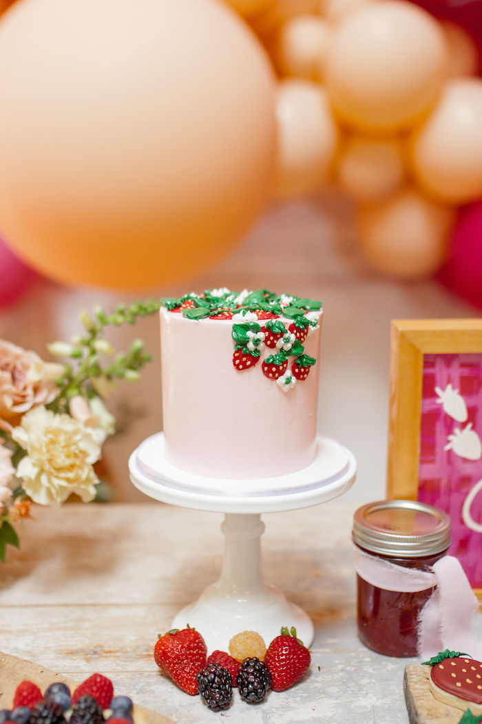 Strawberry Cake from a Floral Fall Harvest Party on Kara's Party Ideas | KarasPartyIdeas.com (8)