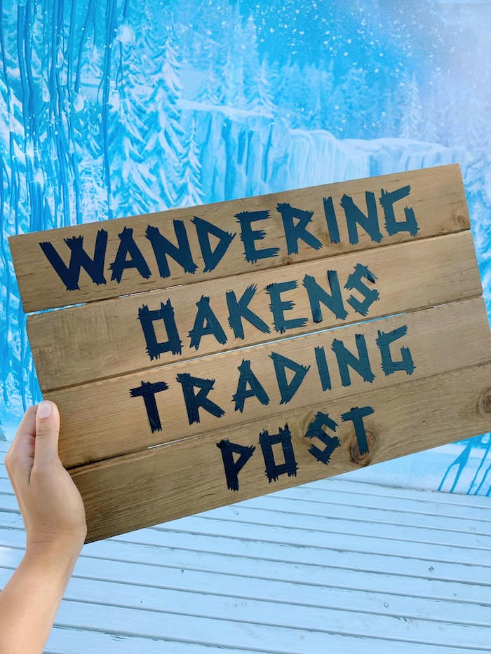 Wandering Oaks Trading Post Sign from a Four the First Time in Four-ever Frozen 4th Birthday Party on Kara's Party Ideas | KarasPartyIdeas.com (7)
