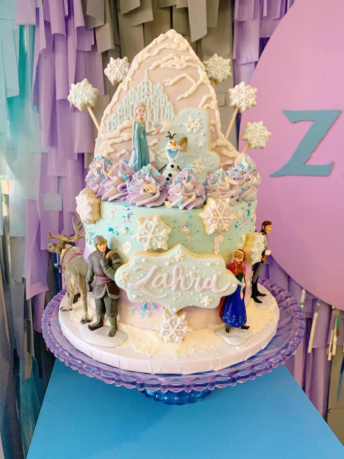 Frozen Birthday Cake from a Four the First Time in Four-ever Frozen 4th Birthday Party on Kara's Party Ideas | KarasPartyIdeas.com (4)