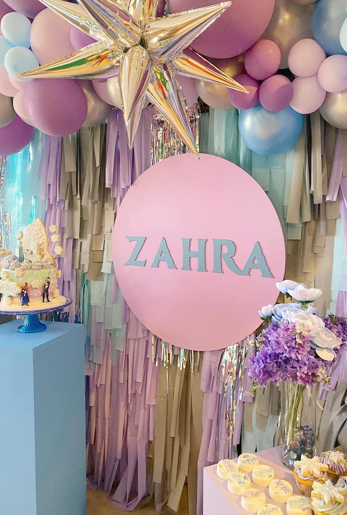 Tassel Backdrop from a Four the First Time in Four-ever Frozen 4th Birthday Party on Kara's Party Ideas | KarasPartyIdeas.com (10)