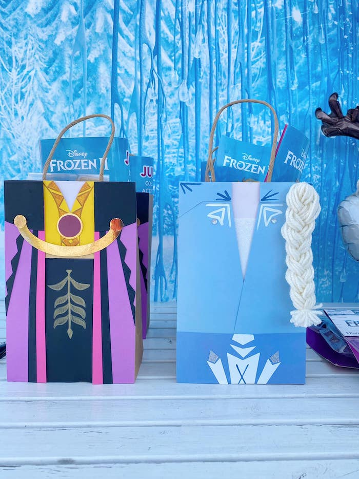 Elsa & Anna Dress Gift Bags from a Four the First Time in Four-ever Frozen 4th Birthday Party on Kara's Party Ideas | KarasPartyIdeas.com (8)