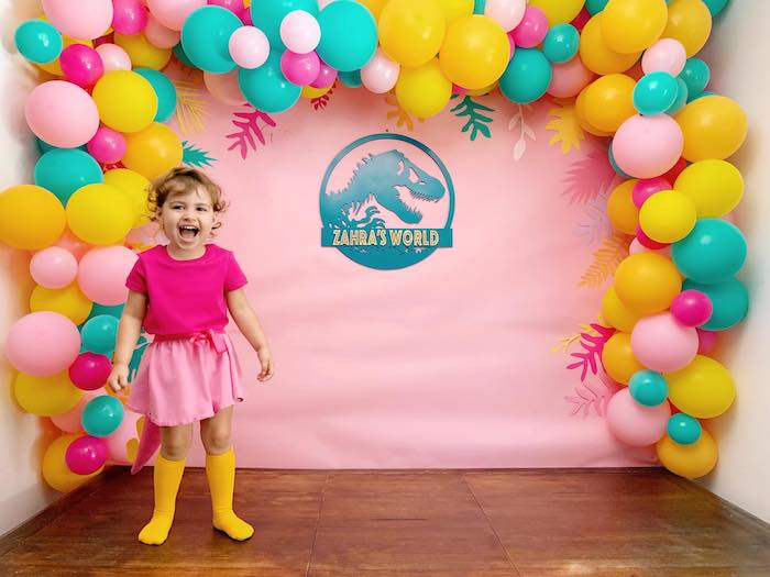 Dino World Balloon Backdrop + Photo Op from a Glam Three-Rex Dinosaur Party on Kara's Party Ideas | KarasPartyIdeas.com (7)