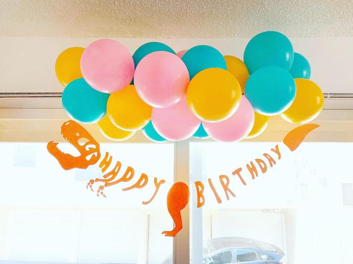 Dinosaur Happy Birthday Banner from a Glam Three-Rex Dinosaur Party on Kara's Party Ideas | KarasPartyIdeas.com (5)