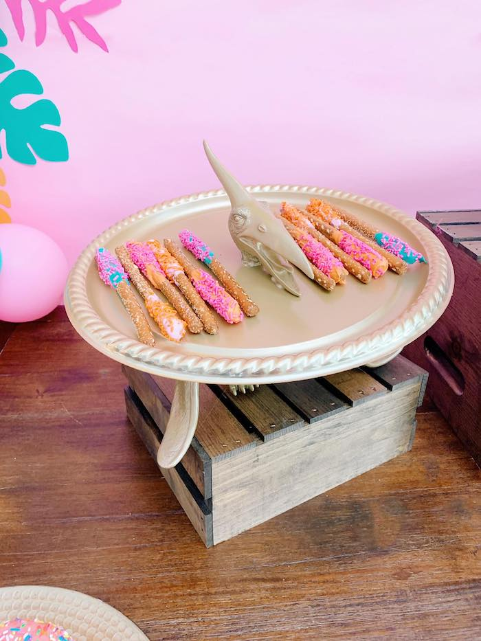 Pretzel Rods on a Pterodactyl Dessert Platter from a Glam Three-Rex Dinosaur Party on Kara's Party Ideas | KarasPartyIdeas.com (4)