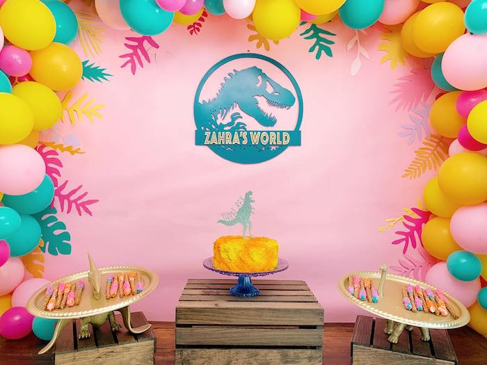 Girly Dinosaur Dessert Table from a Glam Three-Rex Dinosaur Party on Kara's Party Ideas | KarasPartyIdeas.com (18)