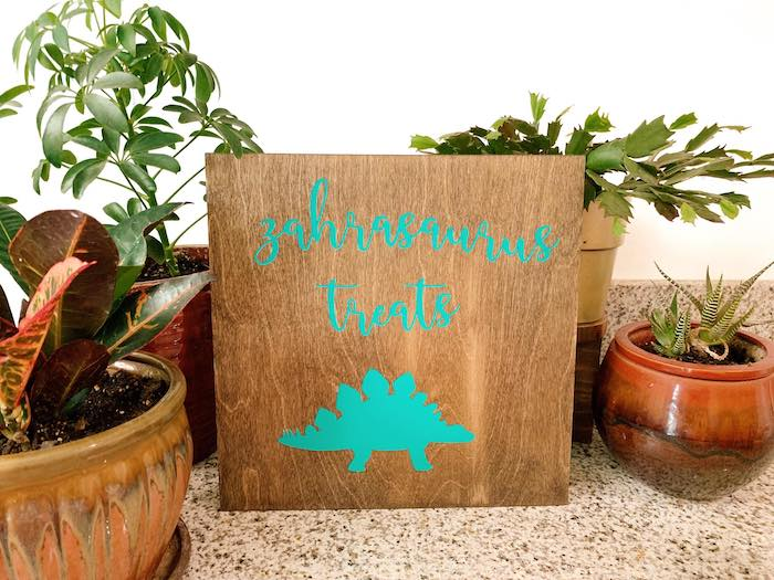 Wooden Dinosaur Treat Sign from a Glam Three-Rex Dinosaur Party on Kara's Party Ideas | KarasPartyIdeas.com (14)