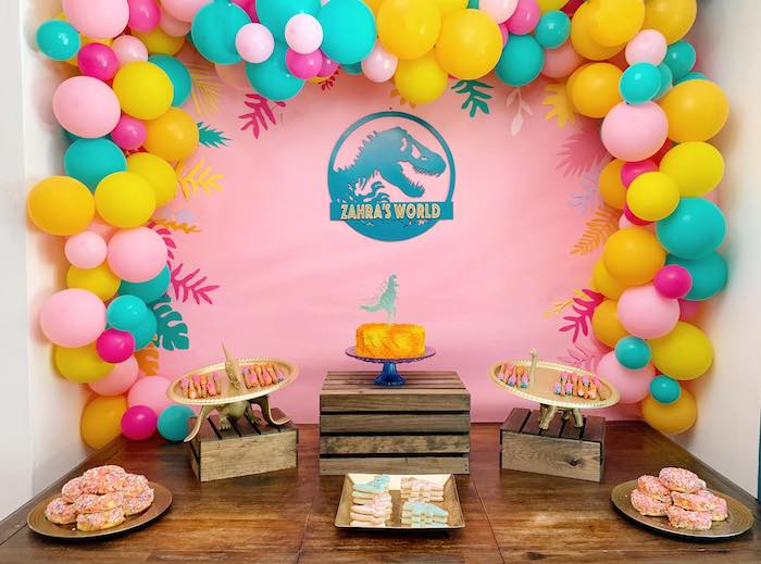 Girly Dinosaur Dessert Spread from a Glam Three-Rex Dinosaur Party on Kara's Party Ideas | KarasPartyIdeas.com (12)