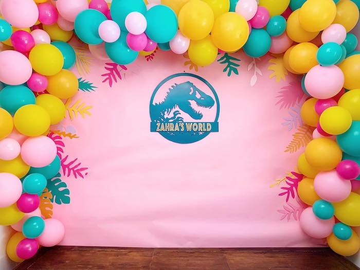 Dino World Balloon Backdrop + Photo Op from a Glam Three-Rex Dinosaur Party on Kara's Party Ideas | KarasPartyIdeas.com (10)